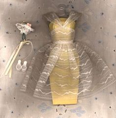 "Barbie outfit, ""Orange Blossom"". (Bridesmaid.) 1962 - 1964 I had  this one outfit . It was really treasured as I didn't have many."