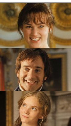 Elizabeth, Darcy, and Georgiana- I LOVE the look Georgiana gives them because no matter what Darcy says he is still obviously in love with Elizabeth. And vice versa. Sooooo sweet:)