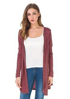 2f39873b83b Upopby Women s Soft Casual Open Front Drape Cardigan Long Sleeve Knit  Cardigan Sweater Plus Size Long
