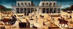 """Piero di Cosimo, """"The Building of a Palace,"""" c. 1514-1518, tempera on wood, Collection of The John and Mable Ringling Museum of Art, the State Art Museum of Florida, Florida State University, Sarasota, Florida"""