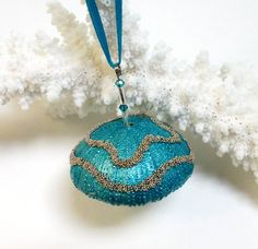 Beach Christmas Sea Urchin Ornament Turquoise by SapphireIsland