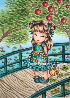 Im designer at Conie Fong Art and Design . She make so many lovely digi stamp. Thought I would share my DT colouring with this lo. 30 Day, Copic, Namaste, Etsy Store, Markers, Balloons, Coloring, Challenges, Scene