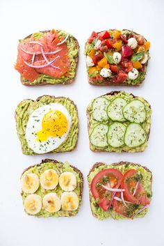 Easy and healthy avocado toast 6 different ways - smoked salmon, caprese, egg with herbs, fresh cucumber, tomato basil pesto, and banana with honey.