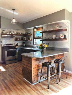 69 Trendy Mobile Home Remodel Ideas Interiors Industrial Kitchen Design, Kitchen Room Design, Home Decor Kitchen, Kitchen Interior, New Kitchen, Home Kitchens, Small Kitchen Backsplash, Concrete Kitchen, Remodeling Mobile Homes