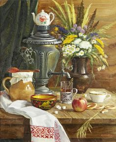 Vjeteslav Kliuchnikov (Russian, Цветы дРRussian Tea Time, Russian Art, Decoupage, Tee Kunst, Buch Design, Russian Painting, Tea Art, Still Life Art, Art Oil