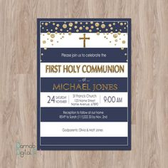 First Communion Invitation Boy, first communion invites, boy first communion invitations, first holy communion invitations for boys blue