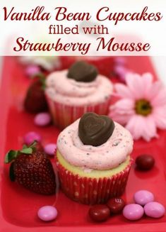 These cupcakes are seriously delicious. They are filled with strawberry mousse and topped with strawberry buttercream