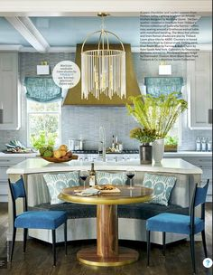 Colorful Nook! Could do without the somewhat gaudy chandelier, but love the rest