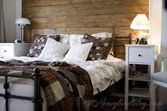 Reclaimed wood headboard in a bedroom dressed for Fall. Isn't that quilted bedspread perfect for Autumn. http://www.songbirdisnesting.com