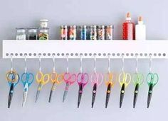 Create More Space for Craft Supplies with S-HOOKS Craft Room Decor, Craft Room Storage, Craft Organization, Organizing, Art Supplies Storage, Craft Supplies, Closet Rod, Metal Pipe, Tidy Up