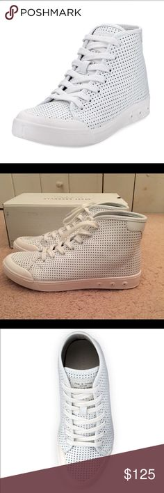 🎉HP🎉🆕rag & bone standard issue high top sneaker 💯% authentic rag & bone standard issue perforated leather high top sneaker NIB  logo patch tongue lace-up vamp reinforced round toe White rag & bone Shoes Sneakers