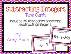 Subtracting Integers Task Cards, $
