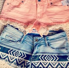 .great diy idea for shorts :)  lace and pattern