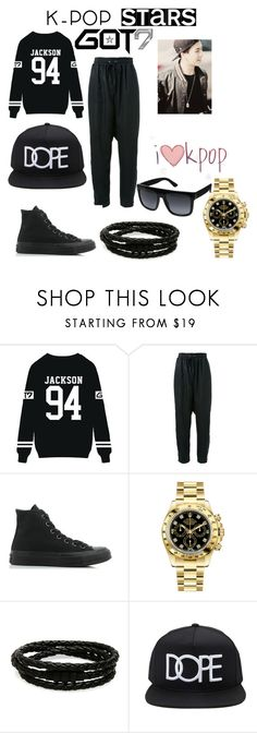 """""""got7-Jackson"""" by wolfwithimagination ❤ liked on Polyvore featuring STRATEAS.CARLUCCI, Converse, Rolex, Porsche Design, 21 Men, Gucci, men's fashion, menswear and kpop"""