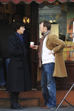 Haha I don't see Benedict and Mark, I see Sherlock trying to figure out if Mycroft's drunk based on his unusually-casual apparel.
