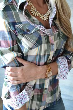 love this plaid shirt w/ the floral cuff detail