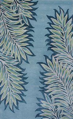 KAS Rugs Bob Mackie Home 1002 Ice Blue Folia Hand-Tufted Wool & Viscose Blend 5' x 8'
