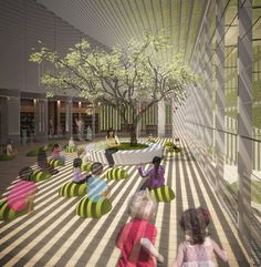 Perth Library Concept - Kerry Hill Design ( It is not a normal classroom, more involved light and nature, feel so healthy. Kindergarten Interior, Kindergarten Projects, Kindergarten Design, School Projects, Kids Library, Library Design, Library Architecture, School Architecture, Kids Cafe