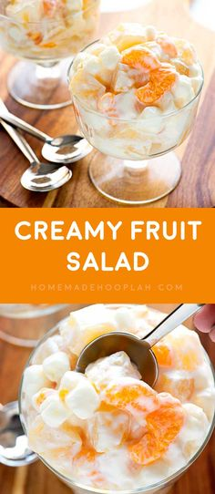 Creamy Fruit Salad! A summer-loving fruit salad with mandarin oranges, pineapple, and pears mixed with mini marshmallows and vanilla greek yogurt. | HomemadeHooplah.com via @homemadehooplah