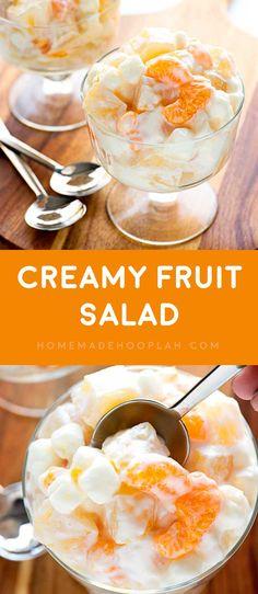 Creamy Fruit Salad! A summer-loving fruit salad with mandarin oranges, pineapple, and pears mixed with mini marshmallows and vanilla greek yogurt. | HomemadeHooplah.com