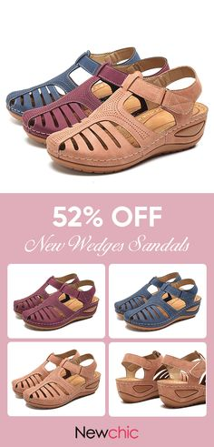 Lostisy LOSTISY Hollow Out Lightweight Pure Color Breathable Hook Loop Wedges Sandals is comfortable to wear. Shop on NewChic to see other cheap women sandals on sale. Sock Shoes, Cute Shoes, Me Too Shoes, Shoe Boots, Crochet Shoes, Slipper Boots, Sandals For Sale, Wedge Sandals, Casual Shoes