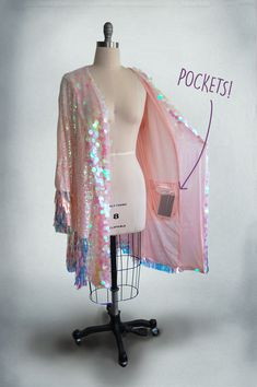 Sequin Festival Outfit Kimono - Pink White Pastel Iridescent Sequins - Festival / rave / bridal / c Sequin Kimono, Sequin Fabric, Pink Sequin, Festival Looks, Rave Festival, Festival Style, Festival Fashion, Jw Moda, Cute Fashion