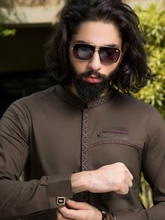 -Classic 2 pieces Shalwar Kameez suit -Simple and Amazing -Embroidery on Band -Fancy Kurta Ensemble -Cuff Sleeves -Soft Pima Cotton African Wear Styles For Men, African Dresses Men, African Clothing For Men, Nigerian Men Fashion, Indian Men Fashion, Mens Fashion Wear, Mens Designer Shirts, Designer Suits For Men, Designer Clothes For Men