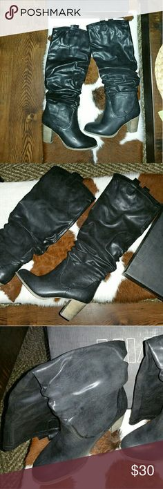 Boots Never worn. Come just below the knees. Love but can't handle the heel. MIA Shoes Heeled Boots