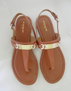 New Coach Caterine Logo Hardware Flat Sandals Saddle Brown Size 7.5 #Coach #TStrap