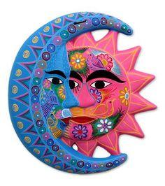 Ceramic wall adornment, 'Nature's Eclipse' - Fair Trade Sun and Moon Ceramic Wall Art Ceramic Fish, Ceramic Wall Art, Ceramic Painting, Mexican Wall Art, Mexican Paintings, Sun Wall Decor, Barn Quilt Designs, Mexican Ceramics, Moon Art