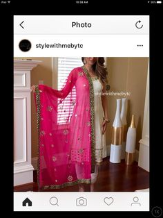 White suit with coloured dupatta