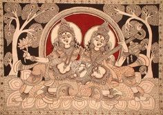 Indian Painting Styles...Kalamkari Paintings (Andhra Pradesh)-saraswati_and_lakshmi_pd46.jpg