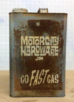 Motor City Hardware Go Fast Gas Gasoline Gallon Decorative Distressed Gas Can