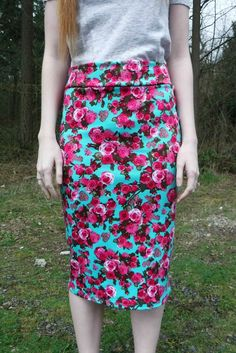 mint and pink spring floral skirt
