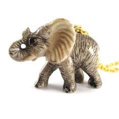 Porcelain Elephant Shaped Hand Painted Ceramic Animal Pendant Necklace | Handmade