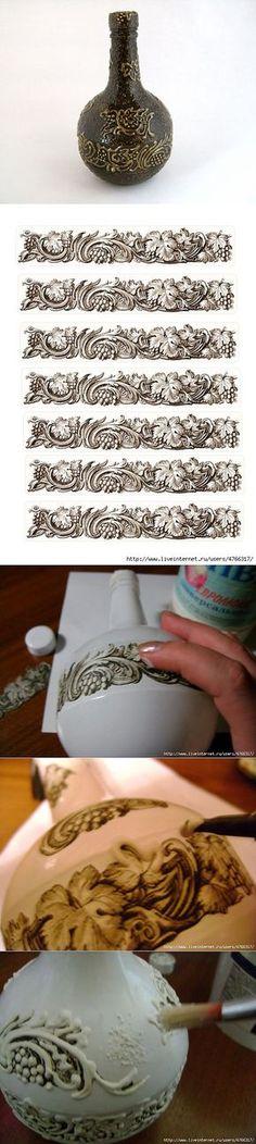 МК по рисование шпаклёвкой .   Декор бутылок   Постила