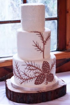Pine Cone Christmas Wedding Cake...you could also add some gold accents with some bright purple or blue! :)