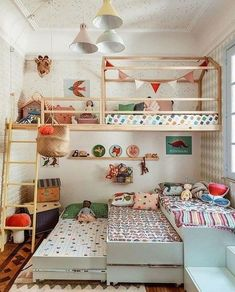 35 Fascinating Shared Kids Room Design Ideas - Planning a kid's bedroom design can be a lot of fun. It can also be a daunting task as you tackle the issue of storage and making things easy to clean. Girls Bedroom, Bedroom Decor, Bedroom Ideas, Childs Bedroom, Triplets Bedroom, Bedroom Fun, Wall Decor, White Bedroom, Bedroom Storage