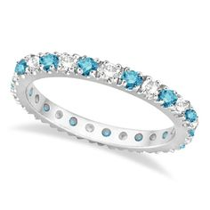 Fancy Blue and White Diamond Eternity Ring Band 14K White Gold (0.50ct)