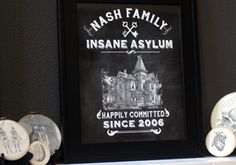 nash family insane asylum.....  I actually used Photoshop and created a faux chalkboard background. Using several different layers in Photoshop and some different tools like the blur tool, I was able to get the house and other items to appear as if they were floating over the chalkboard. I hope that makes sense. If you'd like to e-mail me at lnd@leslienashdesigns.com,   Fonts....Hooverville, Hand Shop Typography, Old Retro Labels, Infinite Dingbats, and Soft Ornaments 3