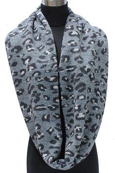 Luipaardprint sjaal grijs/zwart/wit