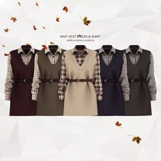 Knit Vest Dress & Shirt for The Sims 4 The Sims 4 Pc, Sims 4 Teen, Sims Four, Sims 4 Mm, Sims 4 Mods Clothes, Sims 4 Clothing, Pelo Sims, Sims 4 Game Mods, Sims 4 Characters