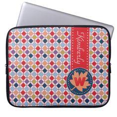#Fashionable Autumn Fall Geometric Pattern Monogram Laptop Sleeve - #trendy #gifts #template
