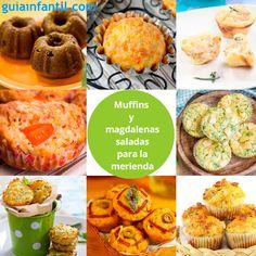 Muffins salados: a los cuatro quesos, pizza, con verduras... ¡Deliciosos! http://www.guiainfantil.com/recetas/cocinar-con-ninos/muffins-salados-para-fiestas-infantiles/