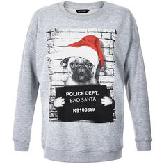 Grey Pug Bad Santa Print Christmas Sweater ($23) ❤ liked on Polyvore featuring tops, sweaters, print sweater, grey jumper, long sleeve jumper, gray jumper und long sleeve sweaters