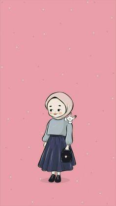 Tumblr Wallpaper, Kawaii Wallpaper, Cute Wallpaper Backgrounds, Cute Cartoon Wallpapers, Disney Wallpaper, Iphone Wallpaper, Tmblr Girl, Hijab Drawing, Islamic Cartoon