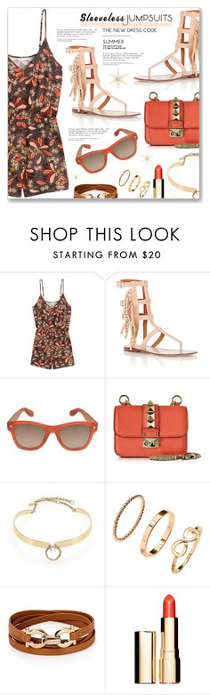 """""""All-in-One: Sleeveless Jumpsuits"""" by dressedbyrose ❤ liked on Polyvore featuring H&M, Valentino, Givenchy, Alexis Bittar, Salvatore Ferragamo, Clarins and sleevelessjumpsuits"""