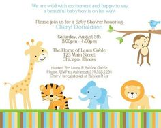Jungle Baby Shower Invitations Wild with Excitement Boys Set of 10 Invites | eBay