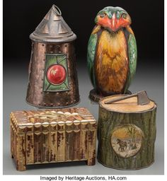 , Four Biscuit Tins: Railroad Lantern, Blue Bird, Chest, Yule Logand Axe, early 20th century. Huntley & Palmers, Mc...(Total: 4 Items)