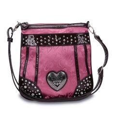 Hot Pink Studded Heart Messenger Bag w/ Croco Trim